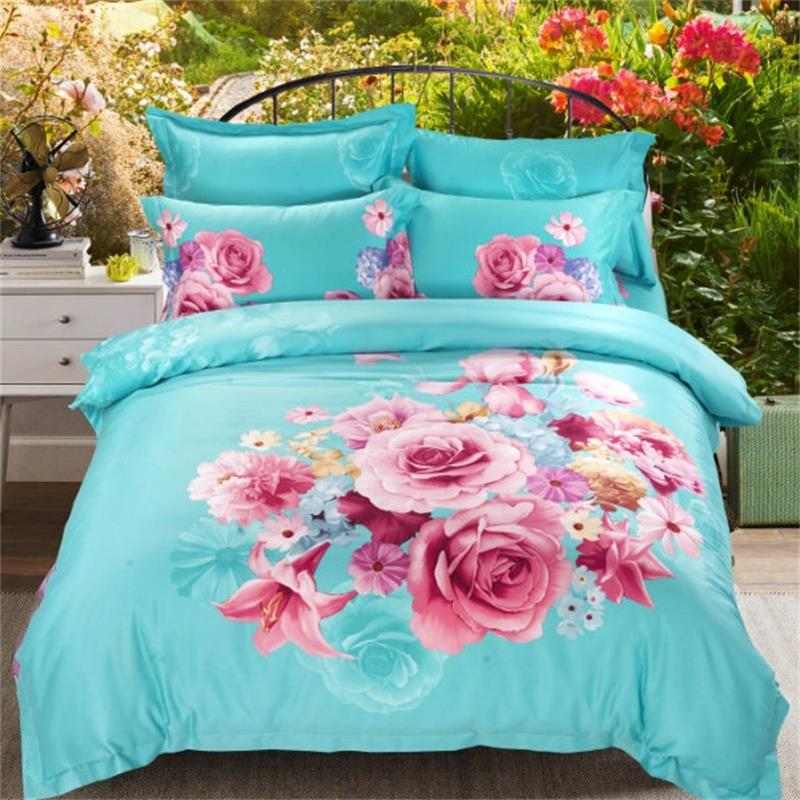 3D Rose Pink Flowers Blue Bedding Set 4pcs Queen Size Duvet Cover Pillowcase Bed Sheets Cotton Fabric Floral Bedroom Set on Sale