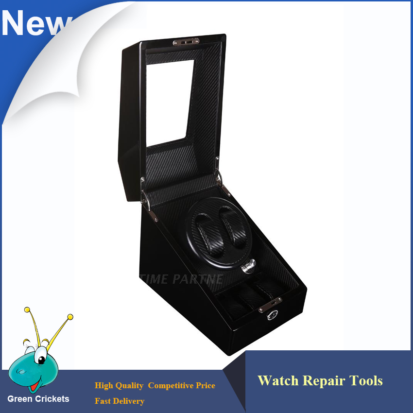 2+3 Black Glossy Suface Carbon fiber Inside Automatic Watch Winder, Multi-function 5 Modes Wooden automatic Watch Winder