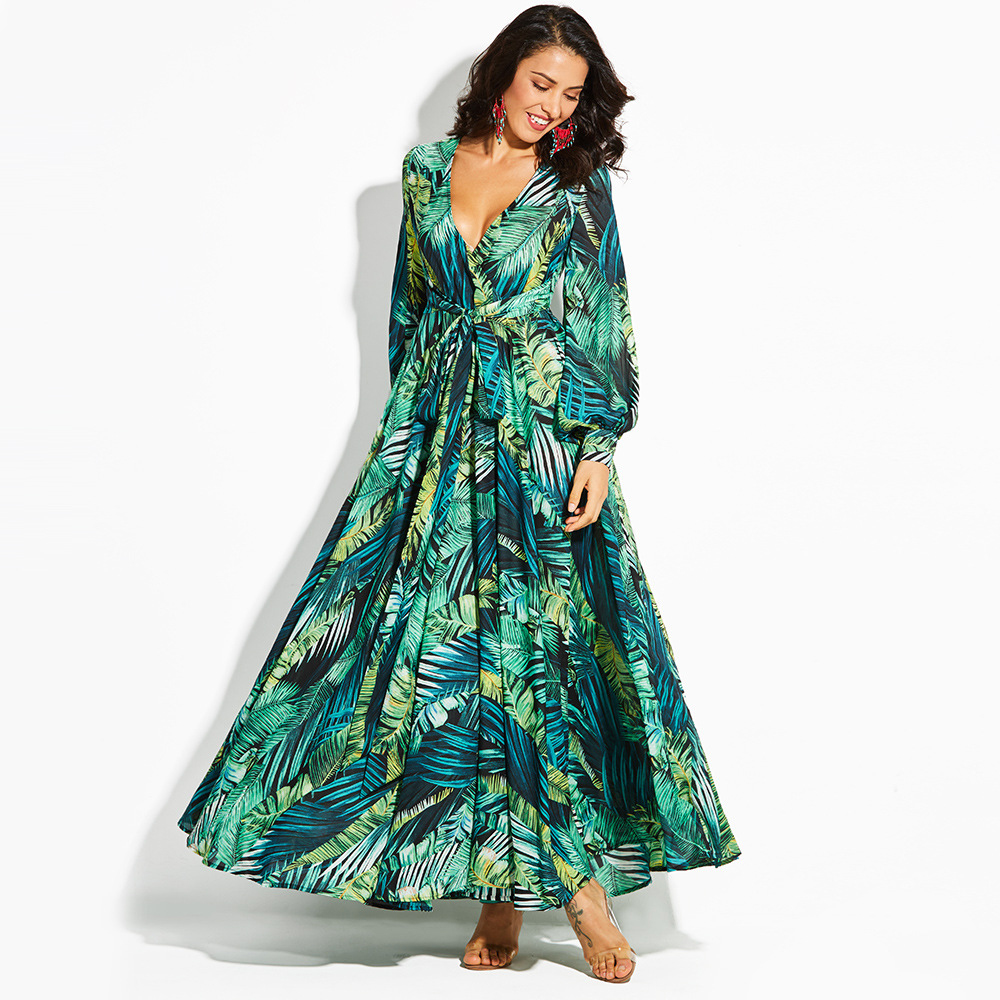 e75df5e457b Buy green leaf maxi dress and get free shipping on AliExpress.com