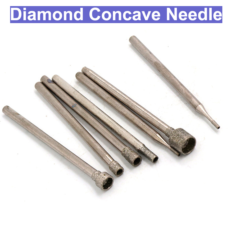 10pcs 2.35mm Diamond Concave Grinding Needle Point Bits Drill Head Dremel Accessories Emery Eye-absorbing Needle Carving Head