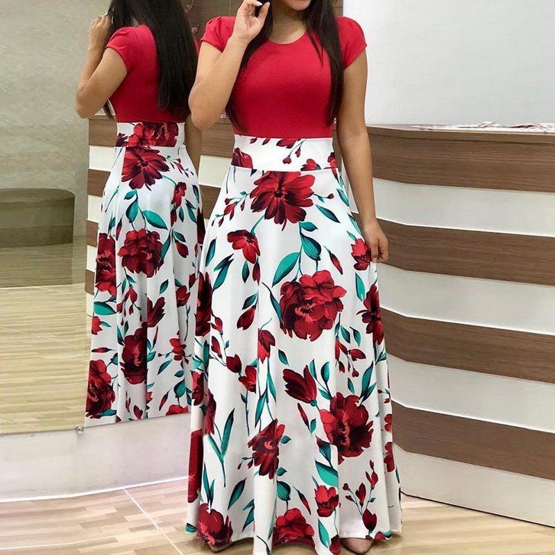 f49d5efacab Laamei 2019 Women Fashion Evening Party Beach Dress Floral Print  Short-sleeved Floral Print Colorblock