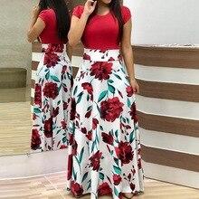 266b9eef035 Laamei 2019 femmes mode soirée plage robe imprimé Floral à manches courtes  imprimé Floral Colorblock Maxi