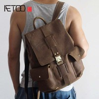 AETOO Hand Made Vintage Crazy Horse Genuine Leather Backpacks Men And Women Shoulder Bag Handmade First