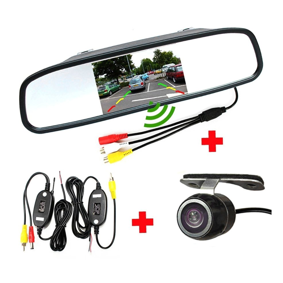 4.3 Inch Universal Mirror Monitor Auto Parking Assistance 2.4GHz Wireless HD Monitor with Rear view Camera