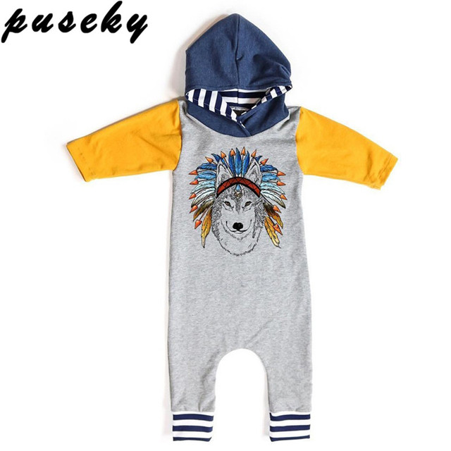 0920d99d52 Puseky 2017 Fashion Spring Autumn Newborn Baby Boys Girls Indian Wolf  Hoodie Romper Jumpsuit Outfits Clothes Kids Clothing 0-18M