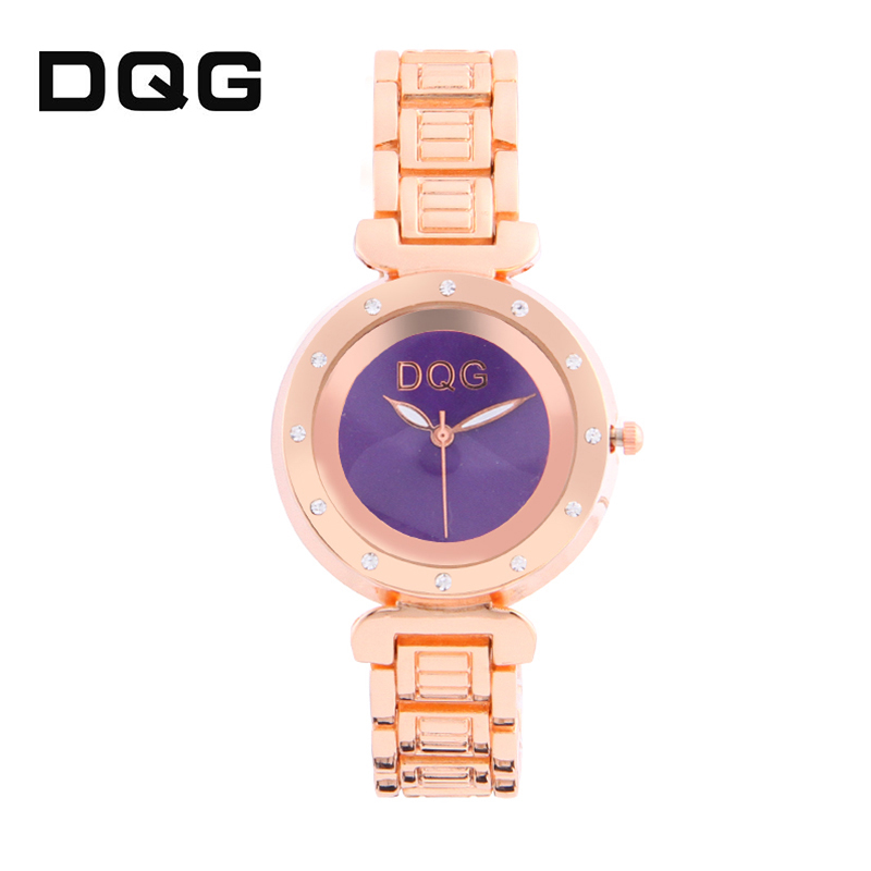 2018 DQG Rose Gold Rhinestone Watch Kvinders Quartz Watches Damer Top - Dameure - Foto 4