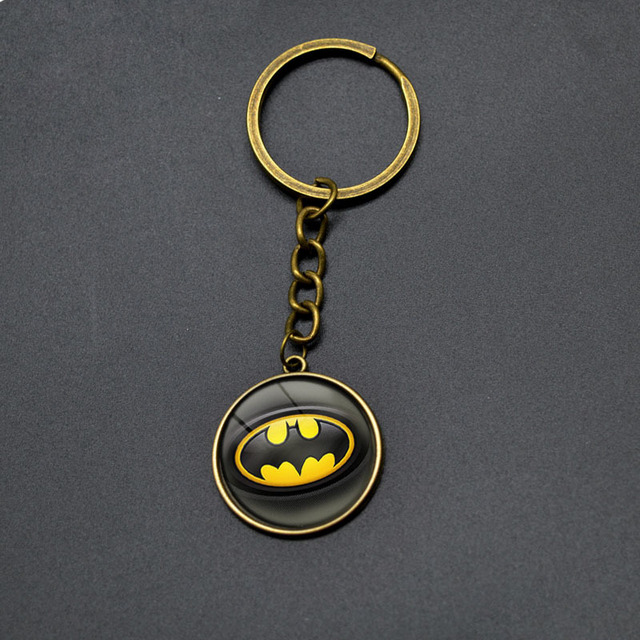 High Quality Vintage Batman DC Anime Cute Bat Pendant Keychain For Boys Students Jewelry Super Hero Key Rings