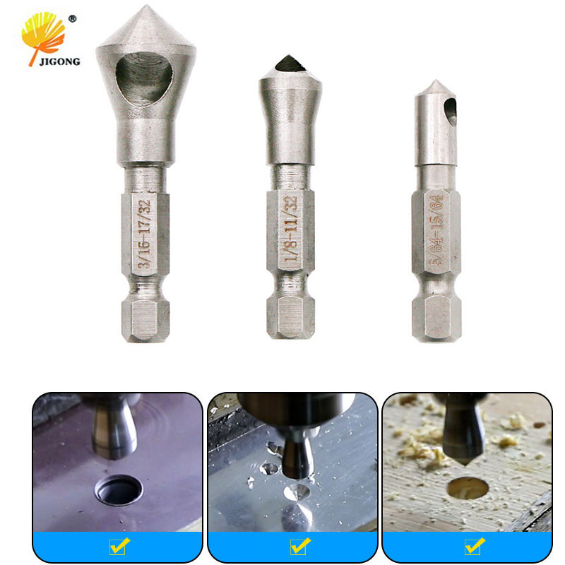 3pcs/LOT 90 Degrees Countersink Bit Set Deburring Drill Bits Tapper Hole Cutter Hand Tools Wood Wooden Metal Plastic Chamfer Set