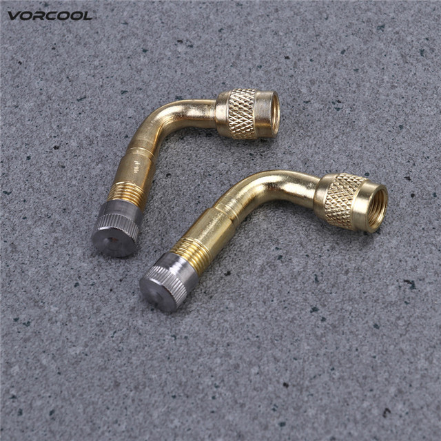 VORCOOL 2Pcs 90 Degree Brass Air Tyre Valve Schrader Valve Stem with Extension Adapter for Car Truck Motorcycle Motor