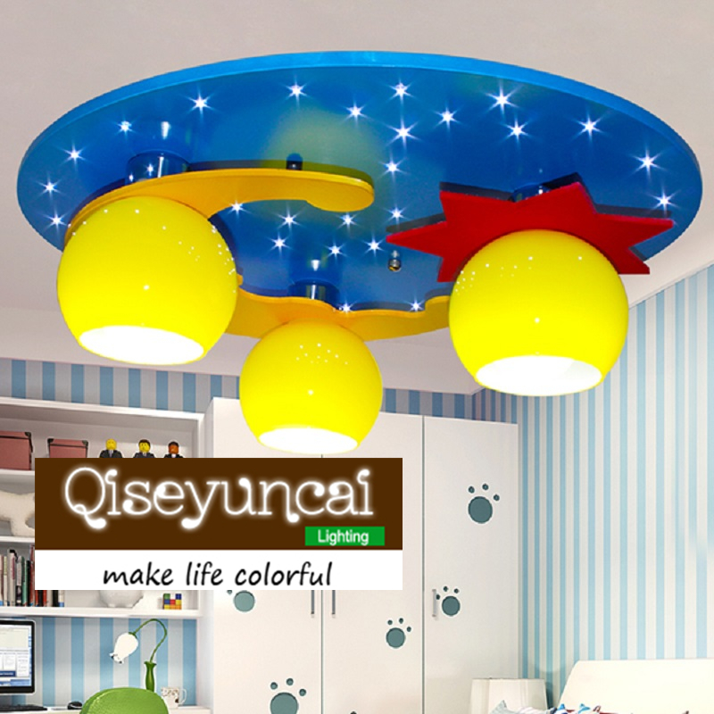 Qiseyuncai Modern minimalist children's room cartoon led eye protection ceiling lamp children's bedroom creative cute lighting creative cartoon baby cute led act the role ofing boy room bedroom chandeliers children room roof plane light absorption