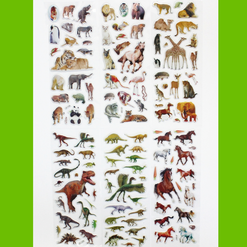 6 Sheets Wildlife Wild Animals Scrapbooking Bubble Puffy Stickers Kawaii Emoji Reward Kids Toys Factory Direct