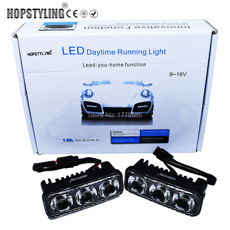 HOPSTYLING 2pcs White Universal DC 9-16V COB LED Daytime Running Light Super Car DRL Lamp Installation Bracket Vehicles 12W E4