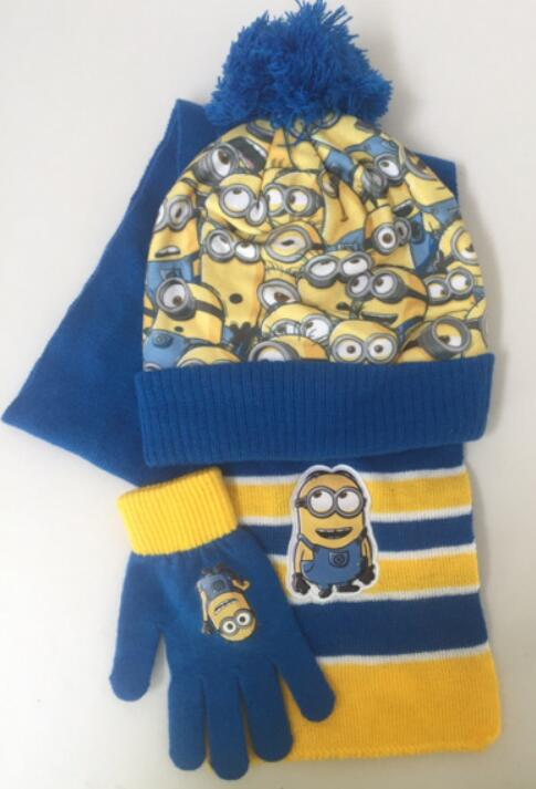 1 Set Cartoon Despicable Me Knitted Crochet Hat + Scarf + Gloves Children Hat Set Christmas New Year Gift SM842
