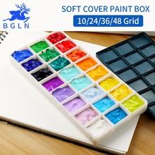 ФОТО bgln 1piece 10/24/36/48grid soft cover paint palette watercolor painting palette professional art plastic palette art supplies
