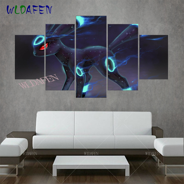 Canvas Art HD Print Animation Posters 5 Pieces Pokemon Monster Modular Painting Framework Pictures for Living Room Home Decor 1