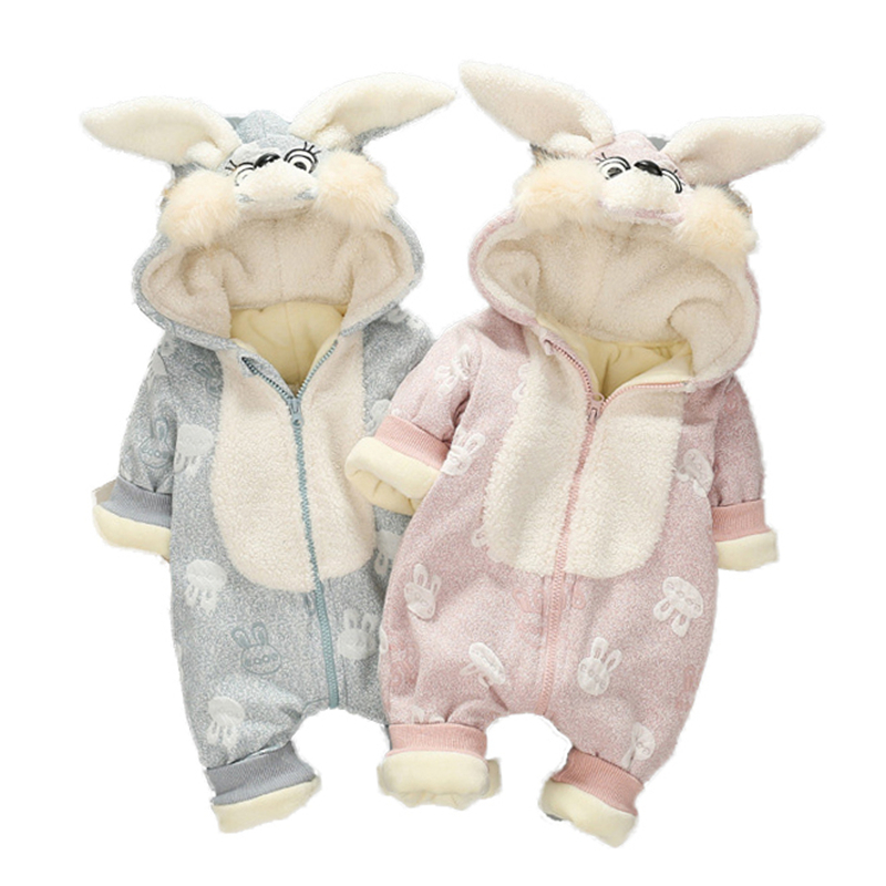 2017 New Fashion Baby Cotton Romper Rabbit Ear Warm Winter Baby Romper One-piece Thick Hooded Newborn Jumpsuit Baby Clothes 2017 new baby winter romper cotton padded thick newborn baby girl warm jumpsuit autumn fashion baby s wear kid climb clothes