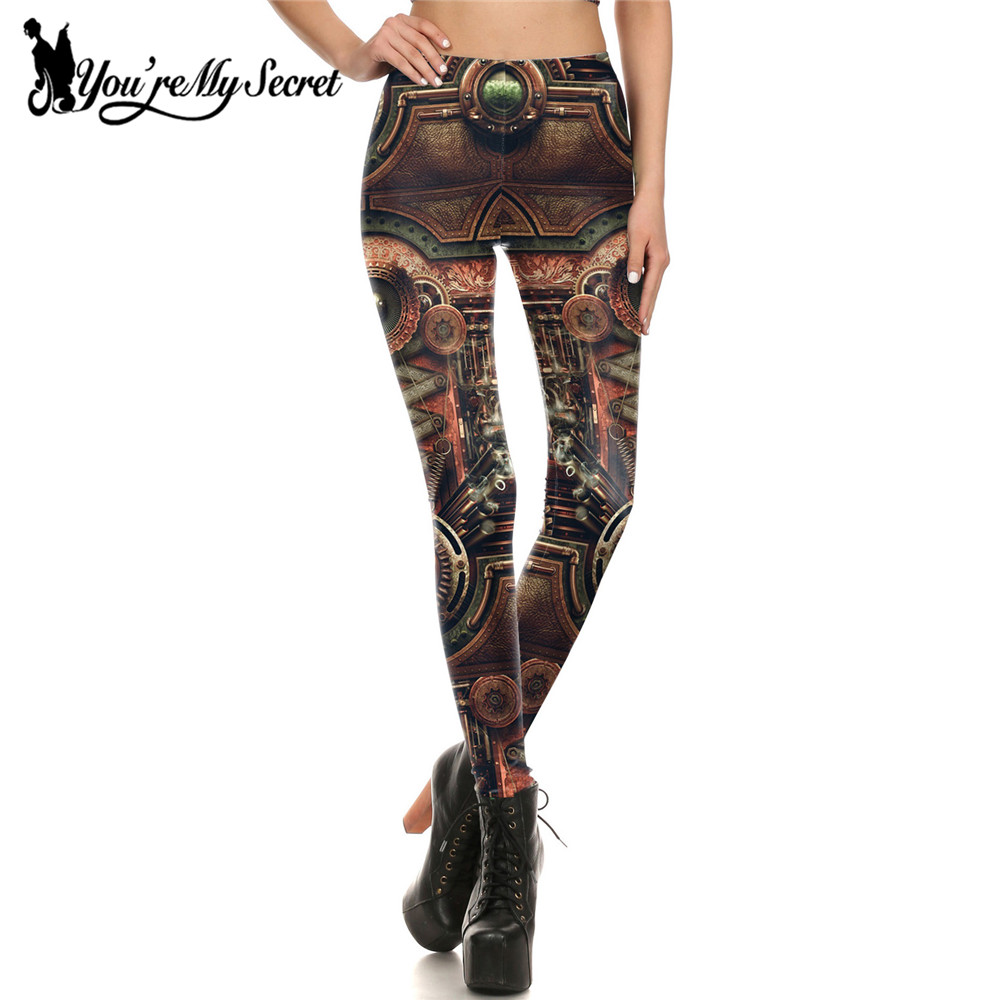 [You're My Secret] Fashion Leggings Women Steampunk Gothic Comic Cosplay leggin Women Mechanical Gear 3d Print Wholesalers Pant
