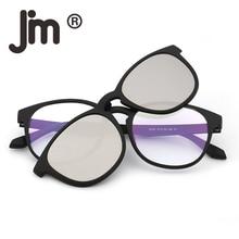 JM Retro Round Polarized Magnetic Sunglasses Clip on Eyeglasses Frame Glasses Men Women