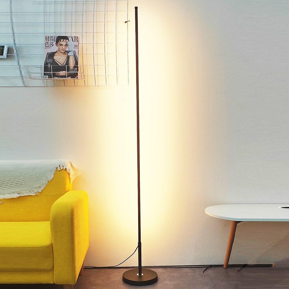 Скандинавские минималистичные светодиодные торшеры, стоячие лампы для гостиной, светодиодные черные/белые алюминиевые люминесцентные лам... - 3