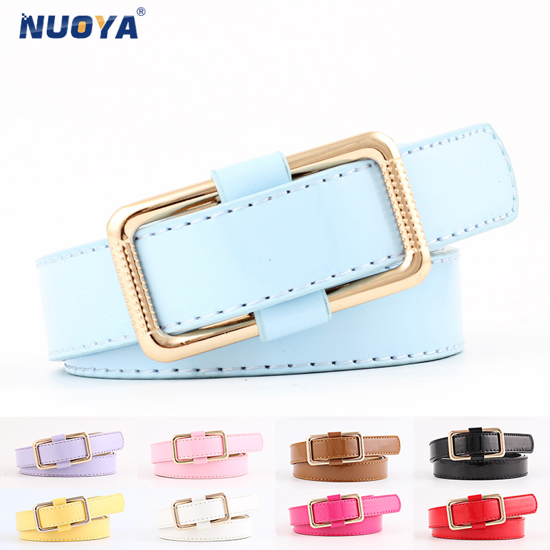 NUOYA 273 Glossy Solid Elegant Classic Designer Belts for Women PU Leather Candy Rosered Pink Blue Black White Purple Camel