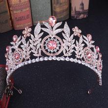 KMVEXO-corona nupcial de princesa de cristal rosado con hojas barrocas para mujer, Tiaras grandes y Noble con flores, joyería de boda, accesorios para el cabello
