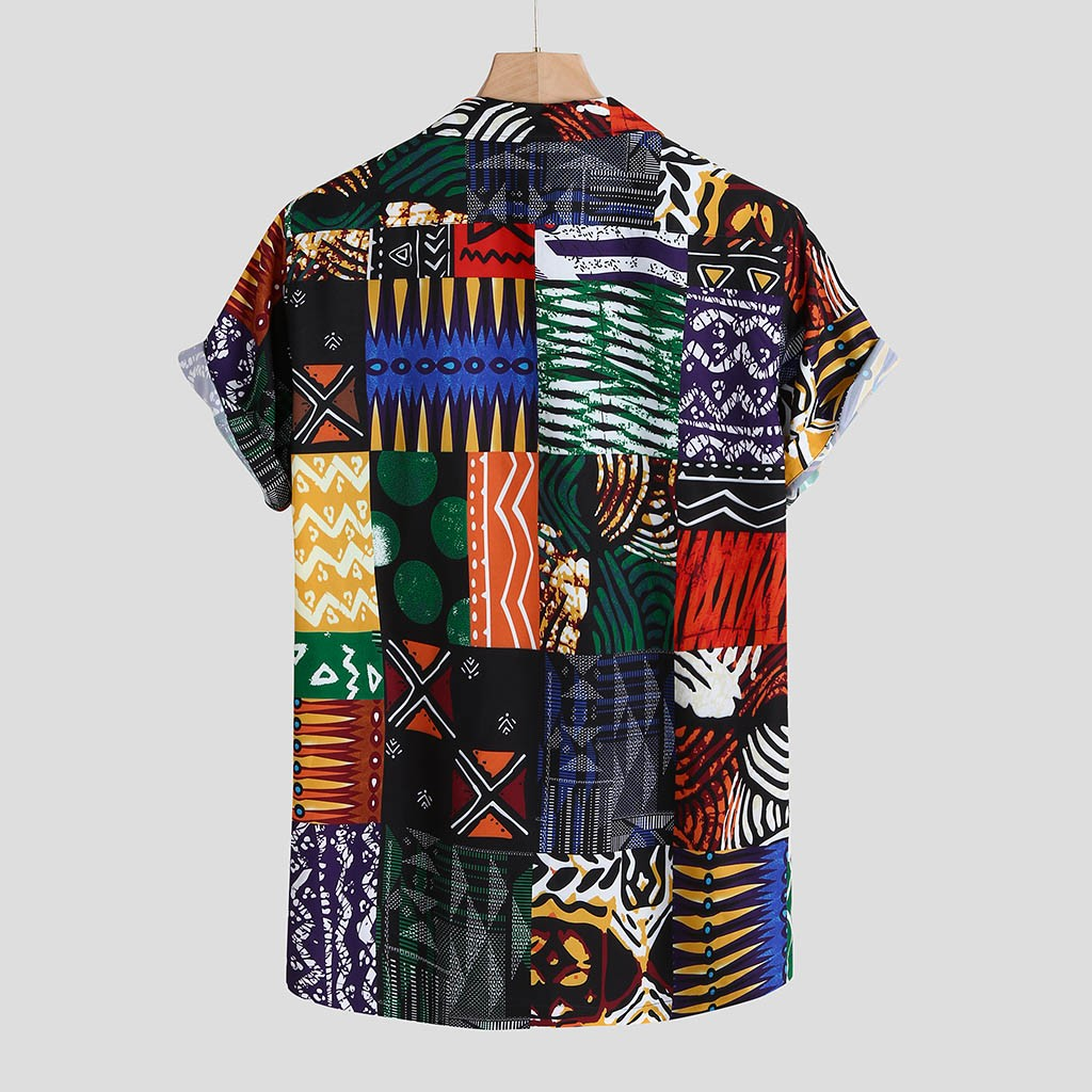 Womail New Arrival Vintage Cotton Men Shirt Short Sleeve Ethnic Style Print Tops 2019 Loose Hawaiian Shirts Men Streetwear 3