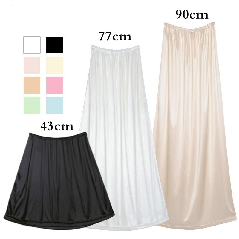 Women Intimates Casual Basic Women Half Slip Underskirt Petticoat Cling Resistant Stretch Cool Comfort Length 6 Colors 906-A208(China)