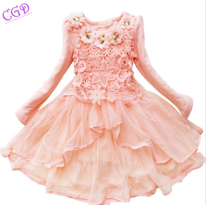 Подробнее о 2016 Spring Girls Dresses Long-sleeved Princess Party Dress Baby Girl Clothes Sweet Five Flowers Lace Dress Children Clothing children costumes for girls sweet princess dress baby girl school dresses for birthday party long sleeved bow girl kids clothes