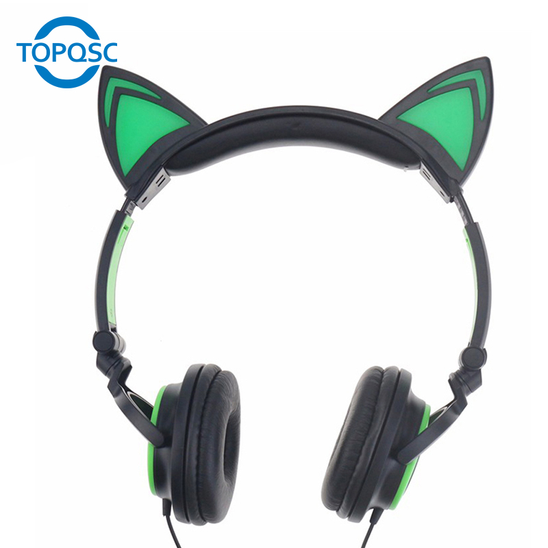 TOPQSC Super Bass Sound Gaming Headset Sound Earphone Foldable Gaming Headphone with Led Light for Phone Ipad MP3 MP4 Laptop