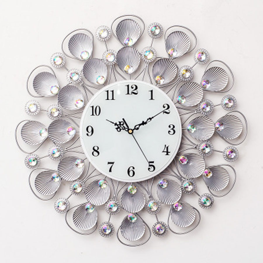 Large Wall Clock Modern Design For Living Room Shell 3D Stickers Clear Crystal Diamond Metal Clocks Wall Watch Home Decor