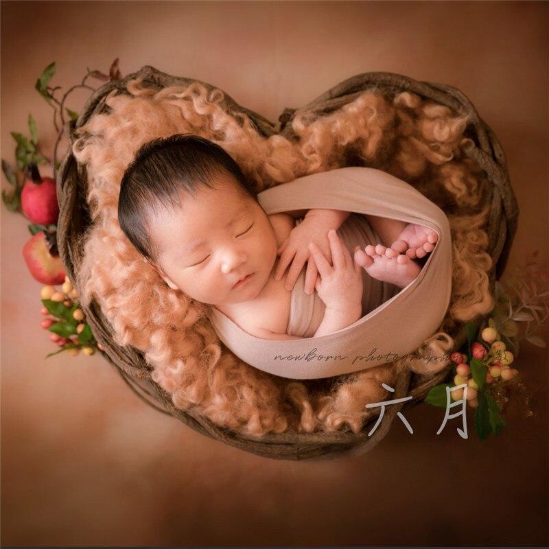 New Infant Props Photography Love Cane Basket Natural Tree Vine Handmade Basket Newborn Photography Props Shooting