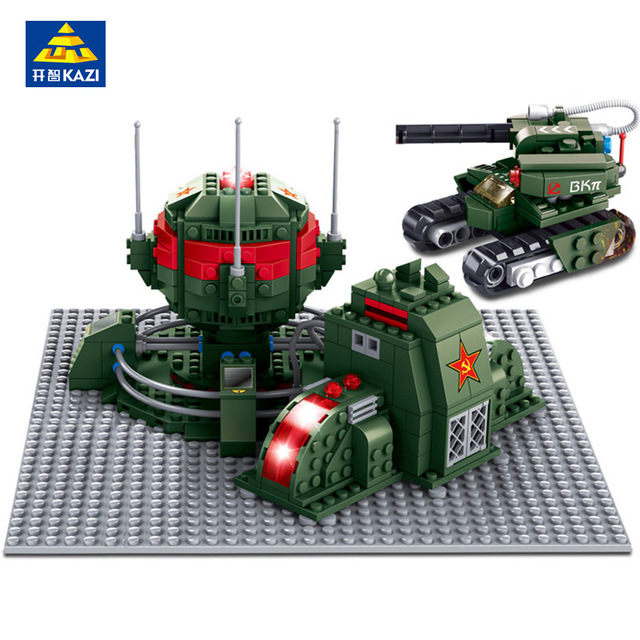 KAZI 519Pcs Iron Curtain Red Alert 3 Army Tank Building Blocks Model Kits Gift Bricks 3D Construction Toys for Children kazi 608pcs pirates armada flagship building blocks brinquedos caribbean warship sets the black pearl compatible with bricks