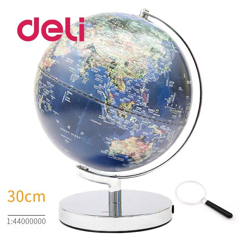 Deli carte géographie stéréoscopique 3d monde terre globe LED lumière éducatif métal Stand maison idéal Miniatures cadeau gadgets de bureau