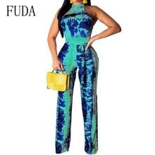 FUDA Summer Casual Wide Leg Print Jumpsuit Women Sexy Halter Fashion Bandage Bodycon Long Pants Elegant Beach Party Overalls