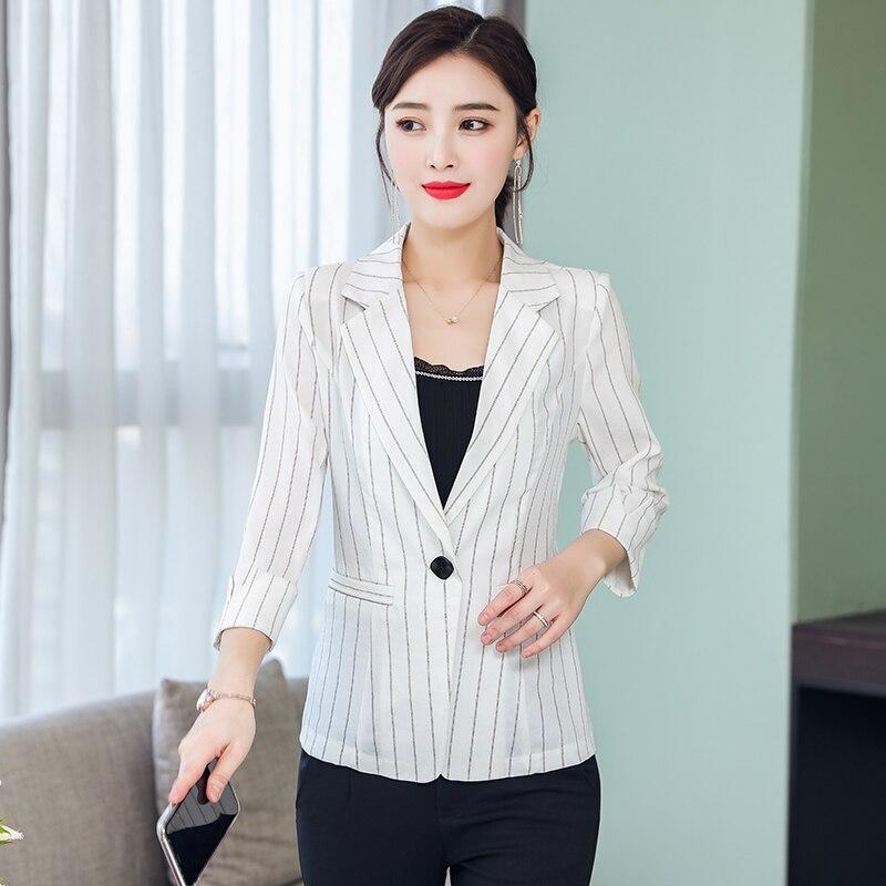 b New 2019 Formal Suits for Women Fashion Designer  Female Long Sleeve Jacket Slim Overcoat Feminino