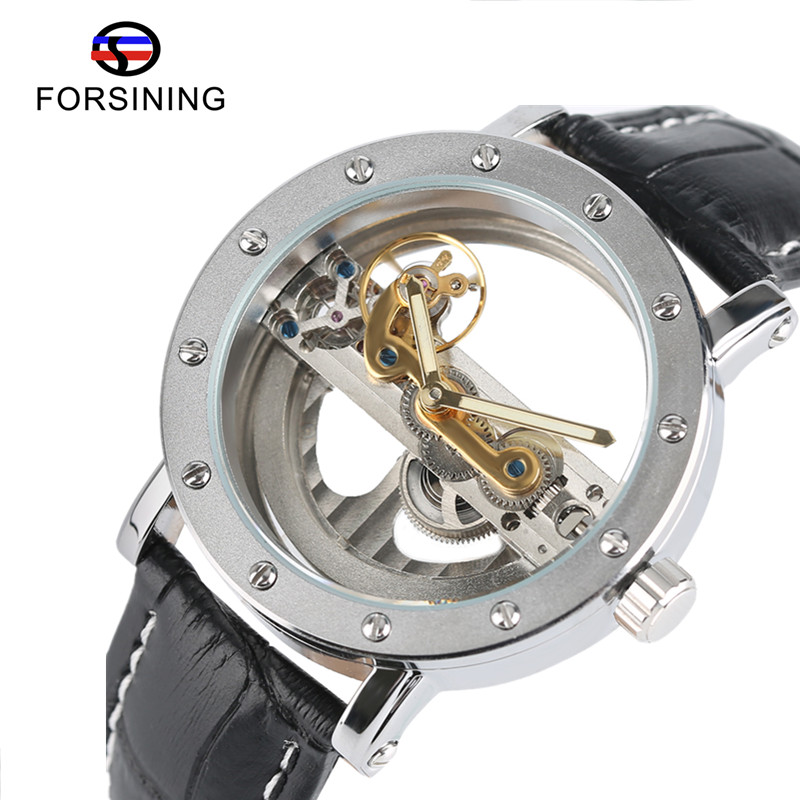 FORSINING Hollow Automatic Mechanical Watch Men Fashion Luxury Brand Leather Band Wrist Watches Business Casual Men's Clock 2017 forsining automatic men s watch luxury brand militry wristwatch mechanical watch arabic numerals dial gold cuff chain band clock