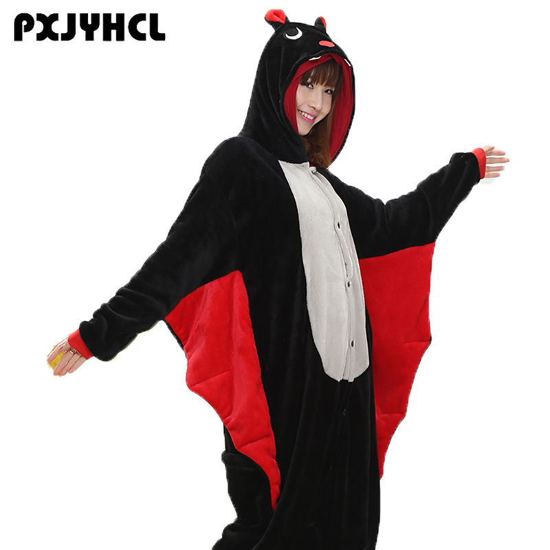 Halloween Adult Black Bat Cosplay Kigurumi Costume For Women Party Anime Jumpsuit Onesies Flannel Christmas Sleepwear Pajamas