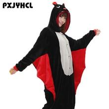 ハロウィン大人の黒バットコスプレ着ぐるみコスチューム女性パーティーアニメスーツonesiesフランネルクリスマスパジャマパジャマ