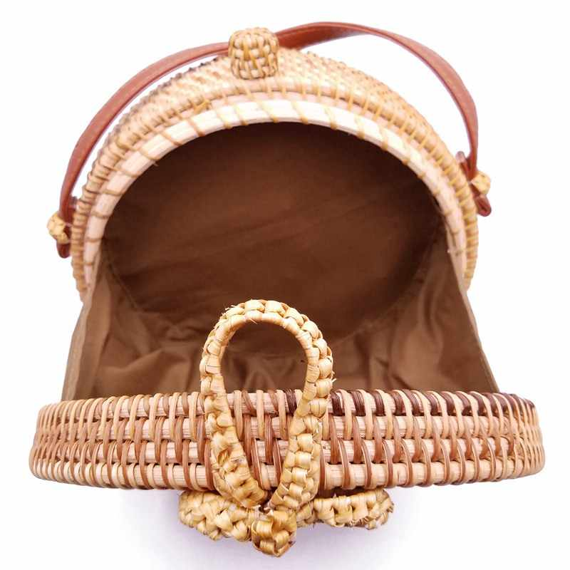 2019 кисточки с маленькими круглыми пляжные сумки лето Винтаж соломенная сумка ручной работы сумки через плечо для женщин богемный бали сумки из ротанга для Для женщин S1501