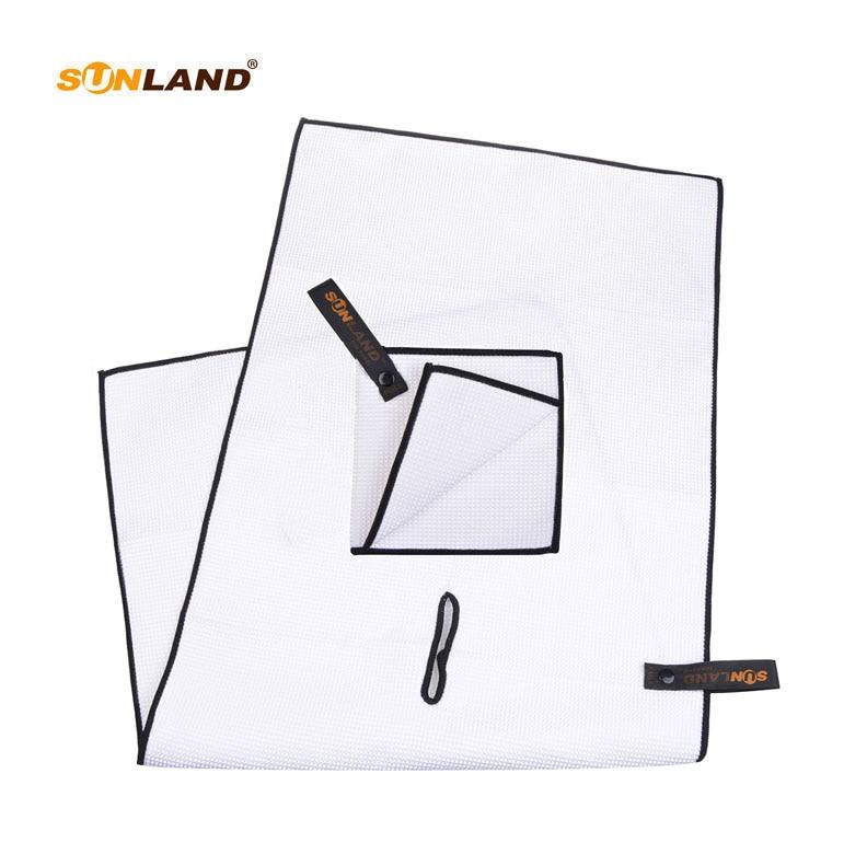 Sunland Microfiber Golfové ručníky velké golfové ručníky s klipem a malé vafle Weave kapesní golfové míče ručník 14inX29in černá  t