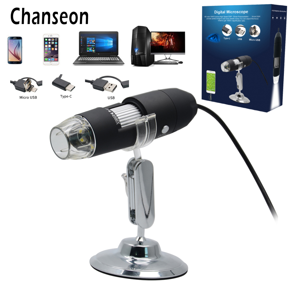 Chanseon 500X/1000X/3in1USB Android Type-C Digital Microscope Stereo Electronic Microscope USB Endoscope Camera Microscopio New