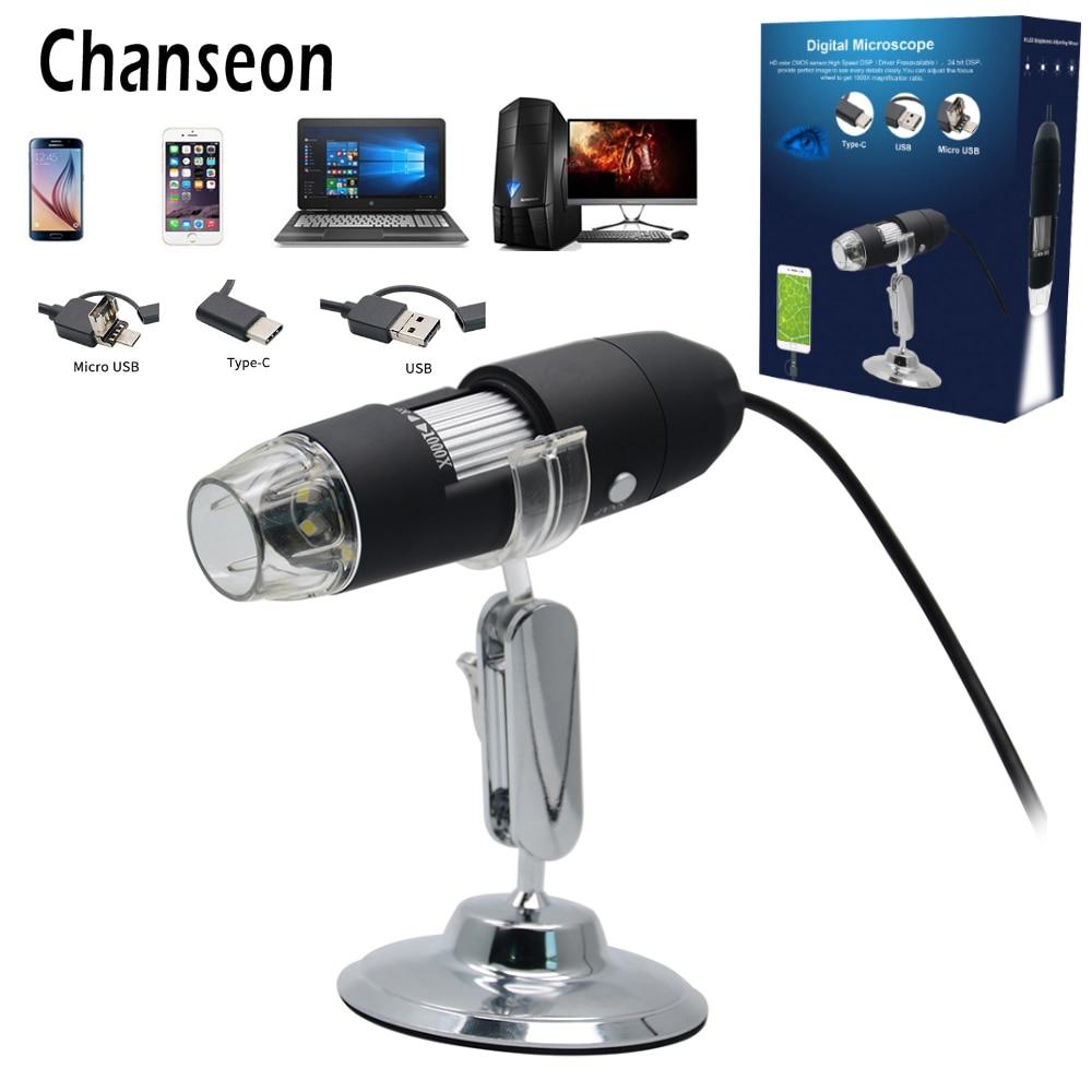 Chanseon 3 IN 1 1000X USB Android Typ-c Digital Mikroskop Stereo Elektronische Mikroskop USB Endoskop Kamera Microscopio Neue