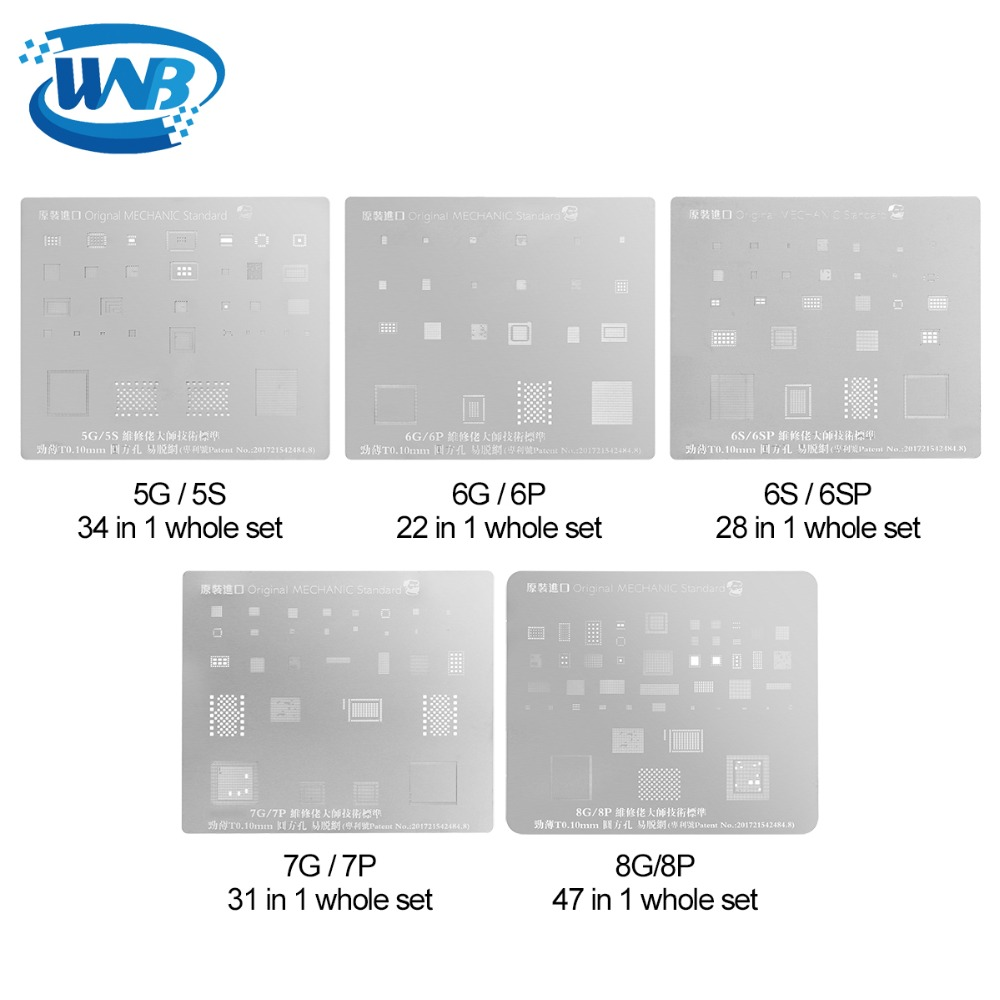 WNB 6pcs/set Template Steel BGA Stencil Mold Steel Reballing Plate Mainboard Repair Tool For IPhone X Reball BGA IC Motherboard