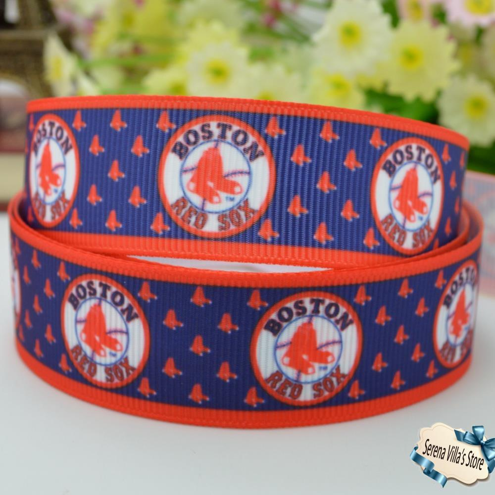 New 7/8 high quality boston sports ribbon printed birthday gift paking party decorations 22mm grosgrain christmas Best prices
