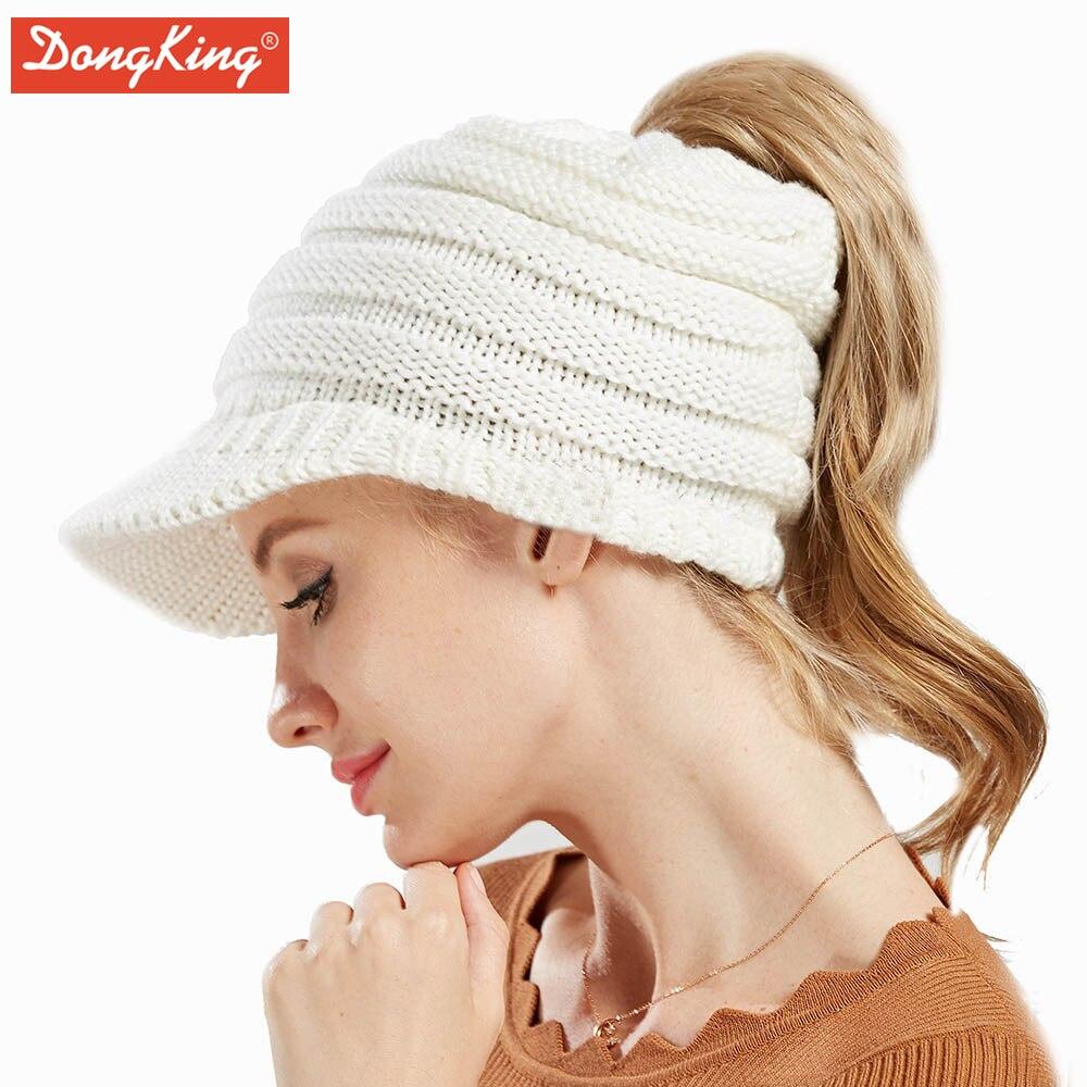 6e0843b51de5f Gorros de invierno calientes Gorros de Navidad gorras de mujer de acrílico  Cola de Caballo sombrero tejido Gorros en Gorros y sombreros de Accesorios  de ...