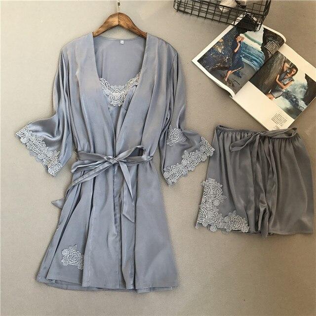 2018 Voplidia Spring three-piece Set Sexy Bathrobe Women Pajamas Set New Nightgown Set Sleepwear Pajamas Pijama Feminino Pyjama