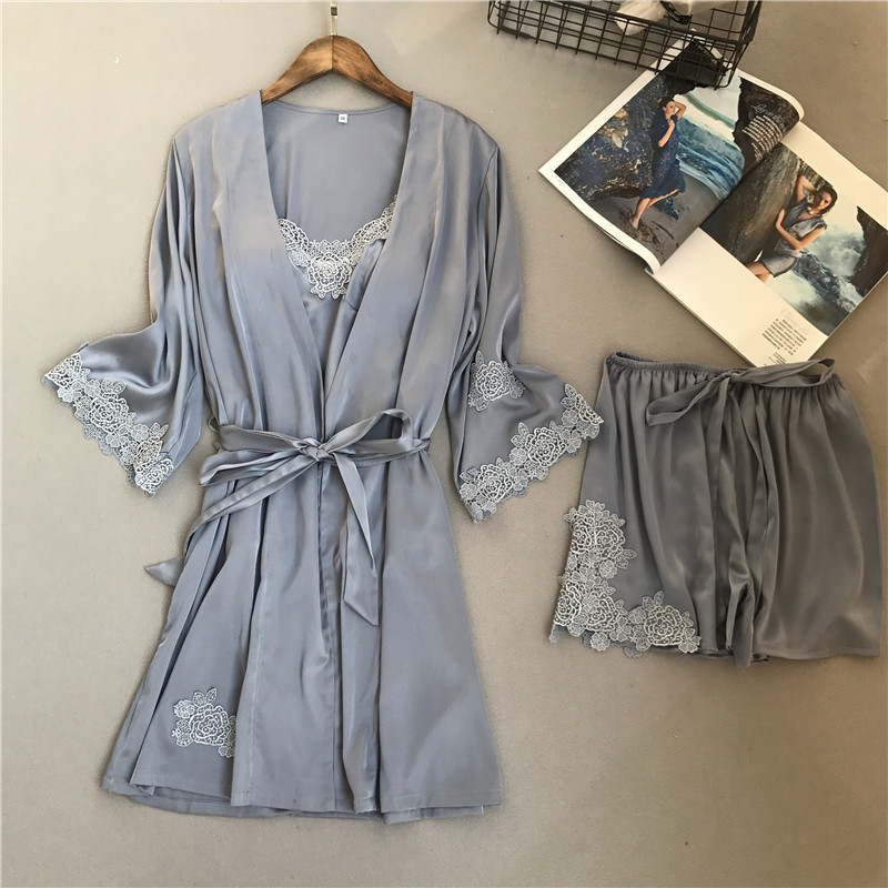 2018 voplidia Весна Комплект из трех сексуальный халат Для женщин пижамы установить новый ночная рубашка комплект пижамы Pijama feminino Пижама