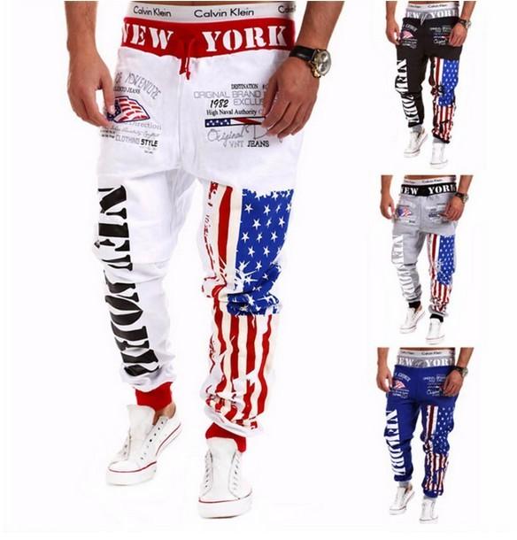 Diseño superior 2015 Personalidad Pantalones Para Hombre Joggers Ocasionales de La Bandera Americana Star Print Pantalones Trajes de Pantalón Hip Hop Harem