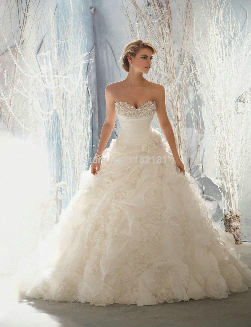 Sparkle Beaded Organza Ruffles Sweetheart Corset Bridal Dresses ...