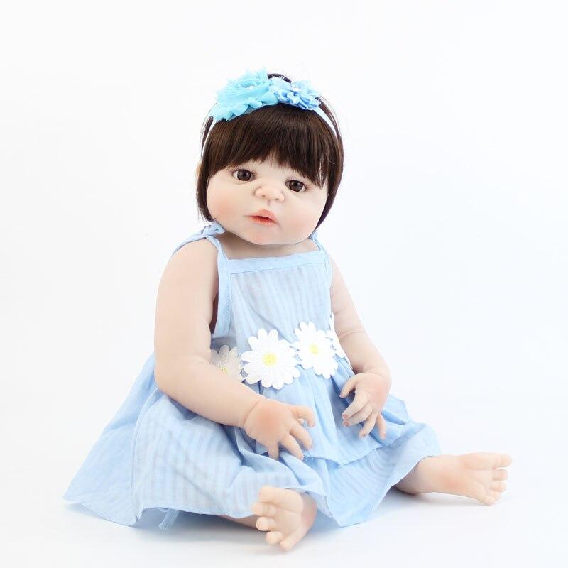 55 см полный Силиконовый Reborn Девочка Кукла игрушка виниловая новорожденная принцесса малыш младенцы живые Bebe игровой дом купать игрушки Дет...